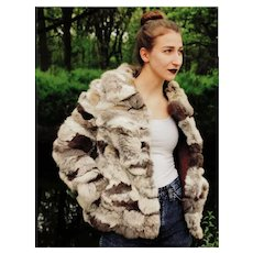 Iconic! Vintage 1970s PATCHWORK RABBIT fur Coat/Jacket