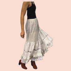 1970s Vintage AVON White Cotton Lace Slip/BOHO festival peasant Skirt