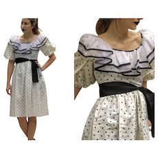 BEST! Vintage 1980s polka dot ruffled Chiffon Collar TAFFETA PROM Dress