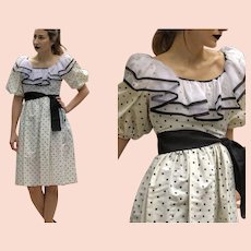 BEST! Vintage 1980s polka dot ruffled Chiffon Collar TAFFETA PROM Dress