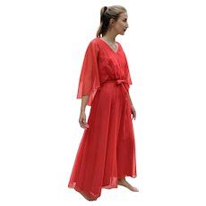 ICONIC Vintage Red prom angelic festival 1970s MIKE BENET Flowy Chiffon Dress
