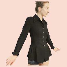 "Vintage KARL LAGERFELD (Chanel-era) 80s black wool ""Victorian-style Peplum"" tunic Jacket Coat"