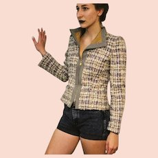 $1750 ESCADA Vintage wool boucle' (Chanel-style) 1990s MOTO JACKET Coat