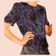 BEST EVER Vintage SCALA 80s beaded sequin Art Deco style Blouse Top