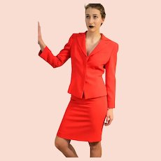 Vintage $1400 GIORGIO ARMANI 90s Runway fitted hourglass Red Skirt/Jacket SUIT