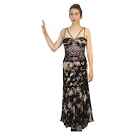 "DIANE FREIS Lovers: Pieces from her OWN Collection!   Vintage Silk ""Ethnic Gypsy"" Evening Gown Dress (Extra Small)"