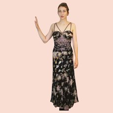 """DIANE FREIS Lovers: Pieces from her OWN Collection!   Vintage Silk """"Ethnic Gypsy"""" Evening Gown Dress (Extra Small)"""