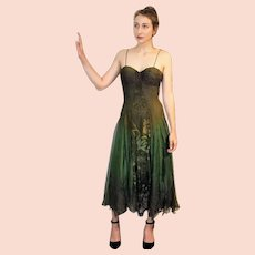 """DIANE FREIS Lovers: Pieces from her OWN Collection!   Vintage Silk """"Ombre"""" Evening Gown/Cocktail Dress (Extra Small/Small)"""