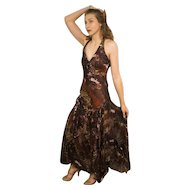 "DIANE FREIS Lovers: Pieces from her OWN Collection!   Vintage Silk ""Beaded Animal Print"" Evening Gown Dress (Extra Small/Small)"