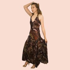 """DIANE FREIS Lovers: Pieces from her OWN Collection!   Vintage Silk """"Beaded Animal Print"""" Evening Gown Dress (Extra Small/Small)"""