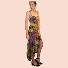 """DIANE FREIS Lovers: Pieces from her OWN Collection!   Vintage Silk """"Jungle Couture"""" Evening Gown/Cocktail Dress (Extra Small)"""