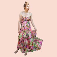 """DIANE FREIS Lovers: Pieces from her OWN Collection!   Vintage Silk """"Rainbow Watercolor"""" Evening Gown Dress (Extra Small/Small)"""