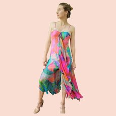 """DIANE FREIS Lovers: Pieces from her OWN Collection!   Vintage Silk """"Rainbow Dream"""" Evening Gown/Maxi Dress- (Extra Small)"""