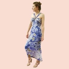 """DIANE FREIS Lovers: Pieces from her OWN Collection!   Vintage Silk """"Tiered & Beaded"""" Evening Gown/Cocktail Dress - (Medium)"""