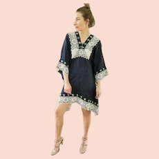 UNUSED! Cotton/Lace Vintage 70s OAXACA MEXICO Mexican festival boho Dress - (Small/Medium)