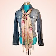 AWESOME! Vintage 90s RALPH LAUREN Denim Fitted Jacket + Silk Scarf - (XS/S)