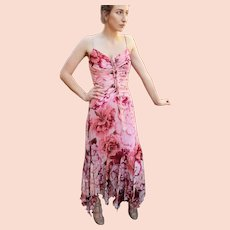 """DIANE FREIS Lovers: Pieces from her OWN Collection!   Vintage Silk """"Tattered Rosette"""" Evening Gown/Cocktail Dress (Extra Small/Small)"""