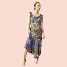 """DIANE FREIS Lovers: Pieces from her OWN Collection!   Vintage Silk """"Boho Fabulous"""" Cocktail Dress (Extra Small/Small)"""