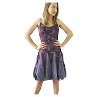 """DIANE FREIS Lovers: Pieces from her OWN Collection!   Vintage Silk """"Purple Faux Fur"""" Cocktail Dress (Small/Medium)"""