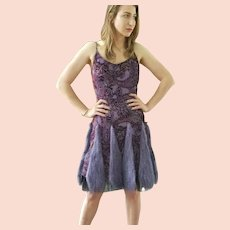 "DIANE FREIS Own Vintage! NWT Silk ""Purple Faux Fur"" Cocktail Dress"
