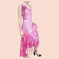 """DIANE FREIS Lovers: Pieces from her OWN Collection!   Vintage Silk """"Pink Boho Dream"""" Evening Gown Dress (Extra Small)"""