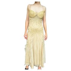 DIANE FREIS Lovers: Pieces from her OWN Collection!   Vintage Silk $1000 COUTURE boho glam SOLID GOLD Gown/Dress  - (Medium/Large)