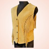 UNUSED VINTAGE $150 Suede Leather Fringe CRIPPLE CREEK hippie festival Vest Top - (Large/Extra Large)