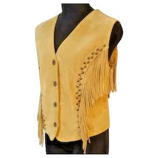 UNUSED VINTAGE $150 Suede Leather Fringe CRIPPLE CREEK hippie festival Vest Top - (Large/Extra Large)