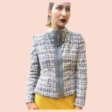 Vintage 1990s ESCADA COUTURE $1750 Wool Boucle' Moto Jacket - (XS)