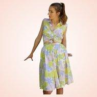 "Vintage 1960s SWEET ""Pastel Butterflies"" 2-PC DRESS Blouse/Skirt Set - (XS/SM)"