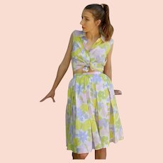 "Vintage 1960s SWEET ""Pastel Butterflies"" 2-PC DRESS Blouse/Skirt Set - (XS/SM)"