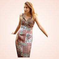 """DIANE FREIS Lovers: Pieces from her OWN Collection!   Vintage """"Patchwork Silk"""" Beaded Cocktail Dress - (Small)"""