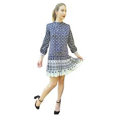 Space Age Vintage 1960s R&K KNITS mod Pleated Jersey Scooter Dress - (Extra Small/Small)