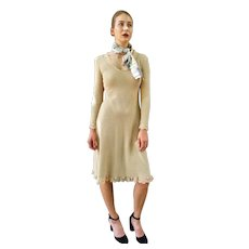 ICONIC Vintage 1970s Knit & LACE Nude Dress + Matching HALSTON Silk Scarf - (Small)