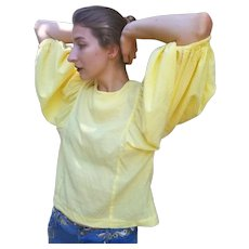 Vintage 1980s OVERSIZED, Avant-Garde yellow festival gypsy Blouse/Top with Puffy Sleeve (1 Size Fits Most)