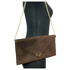 Classic Vintage 1970s MANON Suede Envelope Clutch Purse or Chain Shoulder Bag