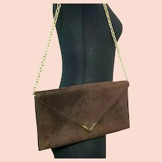 Classic Vintage 1970s MANON Suede Envelope Clutch Purse or Chain Shoulder Bag