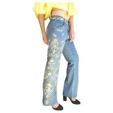 UNUSED $228 Vintage 1990s CACHE Heavily Embroidered Distressed Denim Jeans