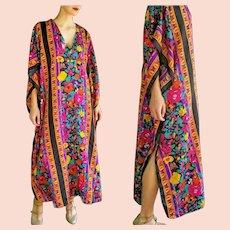 BEST! Vintage 80s Winlar PAKISTAN boho ethnic festival Kaftan Caftan Dress 1 SZ