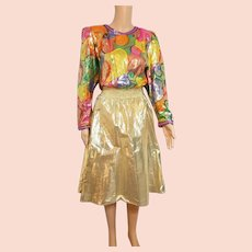 DIANE FREIS Lovers: Pieces from her OWN Collection!   Vintage 1980s Beaded Metallic SILK boho gypsy festival Dress
