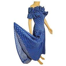 Vintage 1980s BARBOGLIO CRISTINA JAN Polka Dot Off-the-Shoulder prom party Dress
