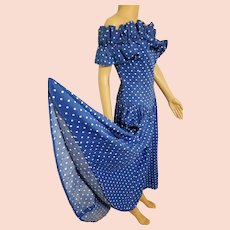 Vintage 1980s BARBOGLIO CRISTINA JAN Polka Dot Off-the-Shoulder prom party Dress