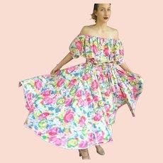 Vintage 80s BARBOGLIO CRISTINA JAN Floral off-the-shoulder Top/Skirt 2 PC Dress