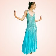 """DIANE FREIS Lovers: Pieces from her OWN Collection!   Vintage $1400 """"Beaded Flapper Goals!"""" COUTURE Silk Gown Dress"""