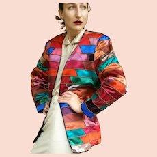 "Vintage 1980s MEXICAN ARTISAN ""Girasol"" Technicolor Patchwork oversized boho Jacket/Coat"
