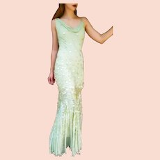 """DIANE FREIS Lovers: Pieces from her OWN Collection!   Vintage $990 """"Mermaid"""" COUTURE Silk Gown Dress"""