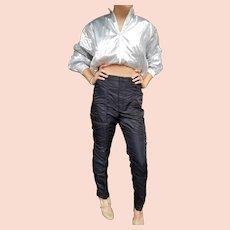 Vintage 1980s high-end designer SAKOWITZ Authentic Nylon Black PARACHUTE Pants