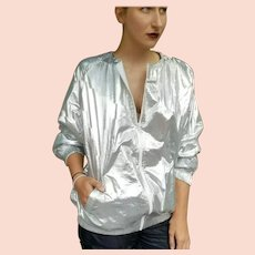OVER-THE-TOP Vintage 80s GLAM! High-End Metallic Silver OVERSIZED Jacket Coat