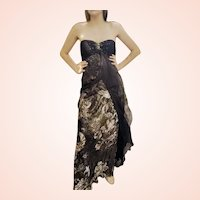 DIANE FREIS' OWN Vintage Collection! NWT Silk Chiffon/Gold FOIL  Gown Dress