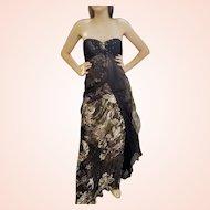 DIANE FREIS' OWN Vintage Collection! NWT Silk Chiffon/Gold FOIL  Gown Dress